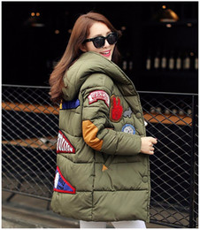 Wholesale Flock Fiber - New Winter Cotton Down Coats Women Casual Hooded Long Down Parkas Thick Female Warm Wadded Jacket Patch Designs