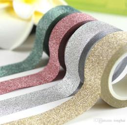 Carta da parati appiccicosa online-Commercio all'ingrosso 5M Glitter Washi Tape carta autoadesivo Stick Sticky DIY Craft decorativo H210464