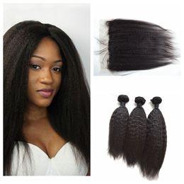 Wholesale Brazilian Yaki - Brazilian Kinky Straight Hair 13x4 Lace Frontal Closure With 3 Bundles Coarse Yaki Human Hair Extensions G-EASY