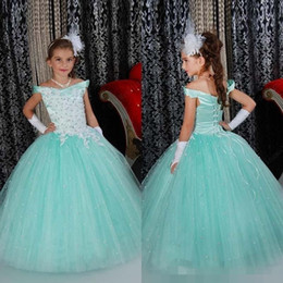 Wholesale Girl Amazing Gown - Amazing Ball Gown Girls Pageant Dresses Nice Light Blue Off Shoulder Flower Girl Dress for Wedding Party Flower Girls Gowns Wedding dress