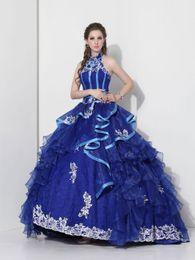 Wholesale Natural Waist Ball Gowns - 2016 royal blue high neck ball gown organza natural waist sleeveless corset floor length quinceanera dress