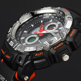 Wholesale Plastic Band Black For Watch - OHSEN brand Led Dual Core Watch Mens Sport Date Day Stopwatch Black Rubber Band Wristwatch orange fashion Running Climbing Watches for gift