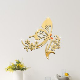 crystal butterfly stickers Canada - Butterfly wall stickers reading glasses 3d three-dimensional crystal decorative stickers can be removed new 2016 European and American