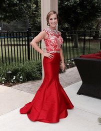 Wholesale Crytal Long Prom Dress - Beautiful Long Red Prom Dress with Crytal and Beads Jewel Neck Mermaid Evening Party Gown Formal Dresses
