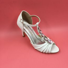Wholesale Womens Shoes Size 14 - 2016 White Wedding Shoes T Strap Buckle Bridal Shoes Real Image Womens Sandals Custom Made Plus Size Party Shoes Cheap Modest New Hot