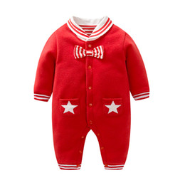 Wholesale Wholesale Pocket Jumpsuit - Christmas Baby rompers Baby boys Cotton stripe bow tie jumpsuit cute Infants stars double pockets long sleeve rompers Newborn clothes C1764