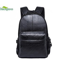 Wholesale Zipper Top Korean - Wholesale-2016 Korean Style Men Backpack Top Quality Leather Double Shoulder Bags School Bag Book Rucksack for male outstoor tote DL0027