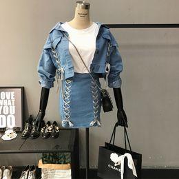 Wholesale Summer Female Slim Hip Skirt - Wholesale- Women Lace Up Crop Denim Jacket Coat with Skirt Two Pieces Sets Female Spring Summer Vintage Short Jacket with Slim Hip Skirt