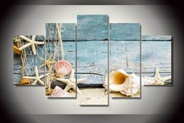 Wholesale Canvas Painting Numbers - 5 Panel HD Printed seashells starfishes beach Painting on canvas room decoration print poster picture canvas painting by numbers erotic