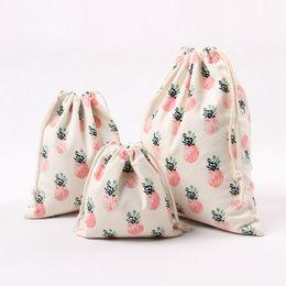 Wholesale Handmade Fabric Handbags - Pineapple Drawstring Bag Portable Oblong Shape Candy Bundle Pocket Multi Function Handmade Canvas Printing Storage Handbags 3 46sb C R