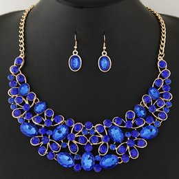 Wholesale Silver Blue Chokers - Collier Femme Choker Statement Bridal Jewelry Sets Crystal African Jewelry Set Circle Collares Round Necklaces & Earrings Set