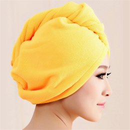 Wholesale Hair Ball Cap - Wholesale-Hot marking Microfiber Bath Towel Hair Dry Hat Cap Quick Drying Lady Bath Tool M25