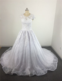 Wholesale Cheap Sequin Dresses China - Customized Real Photo Cap Sleeve O Neck Crystal Beaded Lace vestidos de novia cheap wedding dresses made in china