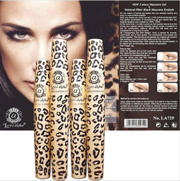 Wholesale Brush Printing - Love Alpha 3D Leopard Print Black Eye Mascara Set Long Eyelash Silicone Brush curving lengthening mascara Waterproof Makeup