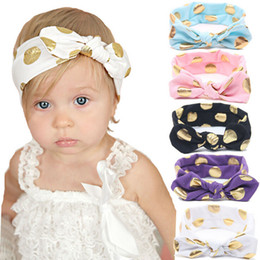 Wholesale Bow Knot Hair - 10PCS Baby Girls Gold Polka Dots Cotton Headband Children Knotted Bow Head Wraps Summer Hair Bands Kids Photography Props Hair Accessories