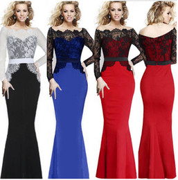 Wholesale Dresses Formales - Evening Gowns Sheer Crew High Neck Half Long Sleeves Appliques Lace Beaded Peplum Sheath Formal Dresses Vestido Formales