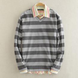 Wholesale Mens V Neck Striped Collar - Wholesale-2016 new winter men thin Sweater Shirt Mens Cotton Knit striped V collar shirt