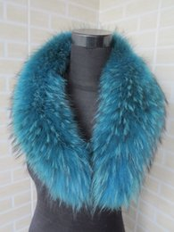 Wholesale Pashmina Fur - Wholesale- Genuine whole skin blue Raccoon fur collar   fur scarf  hot sale 80*15cm