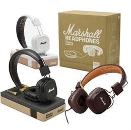 Wholesale Brown Monitor - Hifi Headset Marshall Major I Headphones with Mic Deep Bass DJ Hifi Headset Studio Monitor Headphone 3.5mm Jack Sports Earphone with package
