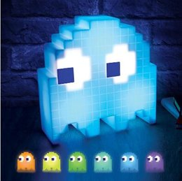 Wholesale Ghost Usb - PAC-MAN Ghost Light USB Music Atmosphere Lights Halloween Christmas Decoration Lights Party Mode Reacts To Music Party Decor CCA7639 6pcs