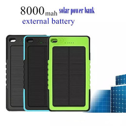 Wholesale Power Bank External Battery Waterproof - Waterproof Solar Charger 8000mAh Solar Power Bank Portable Powerbank External Battery Chargers Backup Pack for iPhone Samsung with retail