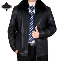 Wholesale Genuine Rabbit Fur Coat - Fall-2016 Winter Leather Jacket Men Rabbit Fur Collar PU Genuine Leather Coats Plus Velvet Thicker Male Outwear Brand Clothing