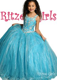 Wholesale Ice Blue Pageant Ball Gowns - Ice Blue Ritzee Girls Pageant Dresses Spaghetti Straps Rhinestone Tulle Sequin Lace Up Princess White Pink Pageant Dresses For Girls