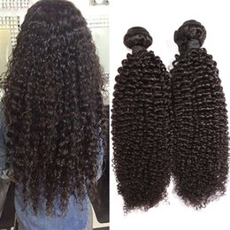 Wholesale 2pcs Curly Remy - 9A Unprocessed Brazilian virgin human hair extension Deep Kinky Curly Remy Hair Weave Weaveing Natural Black Double Weft 2pcs lot