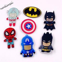 Wholesale Spiderman Badges - MOQ=20pcs Free Shipping Cartoon Acrylic The Avenger Spiderman Batman Captain America Pin Brooch Icon Backpack Clothes Decoration Badges Pins
