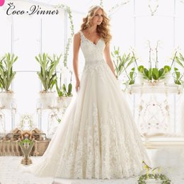 Wholesale Shirt Sexy Tulle - C.V Elegant V Neck Crystal Beaded Belt A line Wedding Dress Backless Botton Zipper Court Train Plus Size lace ball gown wedding dress W0041
