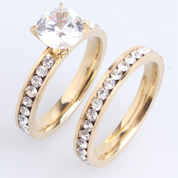 Wholesale Couple Brand Ring Stainless Steel - Brand New 36 pairs Men Womens Wedding Couple Rings 316L Stainless Steel Gold Plated Crystal Fahion Jewelry Engagement Band Ring