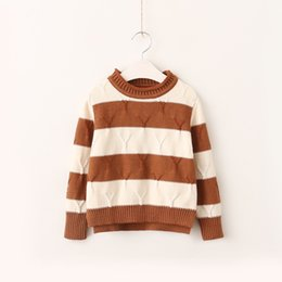 Wholesale Vintage Boys Shorts - Everweekend Girls Stripe Knitted Sweater Top Candy Color Sweet Children Blouse Vintage Korea Western Fashion Clothing