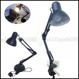 Wholesale Uk Tables - Adjustable LED Desk Lamp Reading Craft Bedside Table Light+ E27 Daylight Bulb UK EU US Plug LLWA195