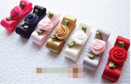 Wholesale Hair Accessories Snap Clip - HOT! 15% off! 7 colors Handmade Baby Girl Satin mini hair clip Bow Rose flower center 3 cm Baby snap clip children Hair Accessories 100pcs
