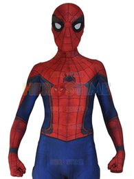 Wholesale Spandex Body Suit Costume - New Civil War Spiderman Spandex Zentai Costume Civil War Spider-man Costume 3D Shade Spidey Cosplay Full Body Custom Movies Suit