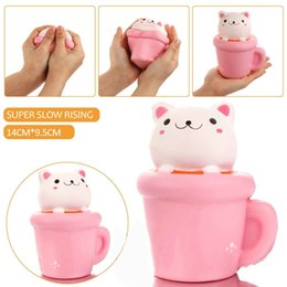 Wholesale Pink Bread - Wholesale Squishy Cup Cat Pink Slow Rising 14cm Kawaii PU Animal Decompression Bread Cake Sweet Scented Phone Pendant Toy Gift