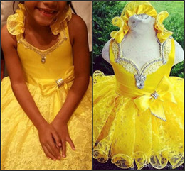Wholesale Satin Ruffle Baby Dress - Yellow Girls Pageant Dresses 2016 Halter V Neck with Rhinestones Ruffles Lace Baby Cupcake Mini Ball Gowns Child Kids Girl Communion Dresses