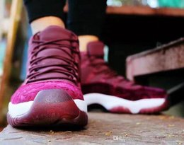 Wholesale Velvet Bodies - Air Retro 11 Wine Red Velvet Heiress Basketball Sneaker Men Women Outdoor Sports Top quality Airs 11s Athletic Sport Shoes 11 With Box