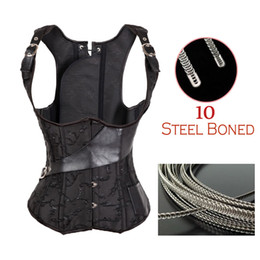 Wholesale Leather Basque Corset - Wholesale-Faux Leather Steampunk Steel Bone Corsets And Bustiers Stain Waist Training Corset Basques Overbust Body Shaper Outfit TYQ