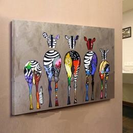 Zebra abstrata moderna on-line-Emoldurado Multicolor Zebras, Pure Pintado À Mão moderna Decoração Da Parede Abstrata Animal Arte Pintura A Óleo Sobre Tela de Lona de alta Qualidade, Multi tamanho ensolarado