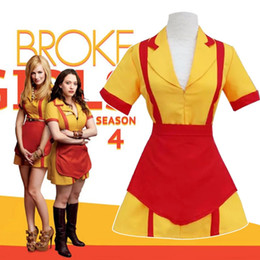 Wholesale Caroline Broke Girls - Hot American TV Series 2 Broke Girls Cosplay Costume Caroline Black Max Waitress Uniform Beer Girl Oktoberfest Costume Halloween Costumes
