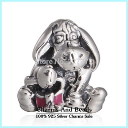 Wholesale Threaded Silver Beads - crown Eeyore Silver Charm 925 ale sterling silver charms loose beads diy jewelry wholesale for thread bracelet DF515