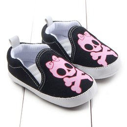Wholesale Wholesale Skulls Shoes - 2016 New Baby Holloween Skull print shoes Baby non-slip canvas first walker infants bowknot skeleton print prewalker shoes
