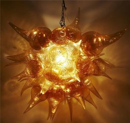 Wholesale Cheap Amber Lights - 100% Hand Blown Glass Lighting Small Size Amber Murano Glass Chandelier,Flower Shaped Glass Mini Cheap Chandelier