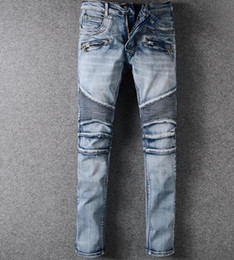 Wholesale Casual Blue Jeans Mens - 2017 new Fashion Vintage Jeans Mens Holes Tattered Jeans Locomotive Jeans Straight Denim Trousers Casual Pants