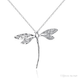 Wholesale Dragonfly Silver - 925 Silver Plated Animal Pendant Necklace Cute Dragonfly Charms Long Rolo Silver Chain Fashion Lovely Jewelry for Girls Christmas Gifts