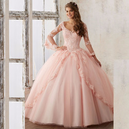2019 vestidos de quinceañera cor rosa Cor rosa Vestido De Baile Vestidos de Noite Real Apliques Beading Sexy Mangas Compridas Backless Vestidos Quinceanera Vestido Prom Pageant Debutante Vestido desconto vestidos de quinceañera cor rosa