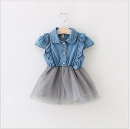 Wholesale Dress Cowboy Baby Girl - 2016 New Girl Denim Dress Baby Girls Summer Cowboy Stitching Lace Net Yarn Dresses Children Korean Style Princess Dress Cute Girl Clothing