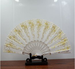 Wholesale Gold Hand Fans - Free shipping In stock gold bridal fans hollow bamboo handle wedding accessories Fold paper fans Chinese style for dance