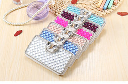 Wholesale Iphone Case Pearls Flip - Luxury Bling Bowknot Crystal Diamond Wallet Flip Case Bling Pearl Diamond Credit Card Holder Cover For iPhone samsung